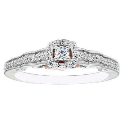 Enchanted Disney Fine Jewelry Womens 1/4 CT. T.W. Round Diamond 10K Gold Promise Ring