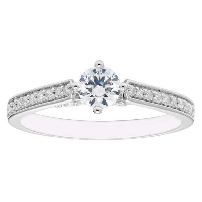 Enchanted Disney Fine Jewelry Womens 1/2 CT. T.W. Round White Diamond 14K Gold Engagement Ring