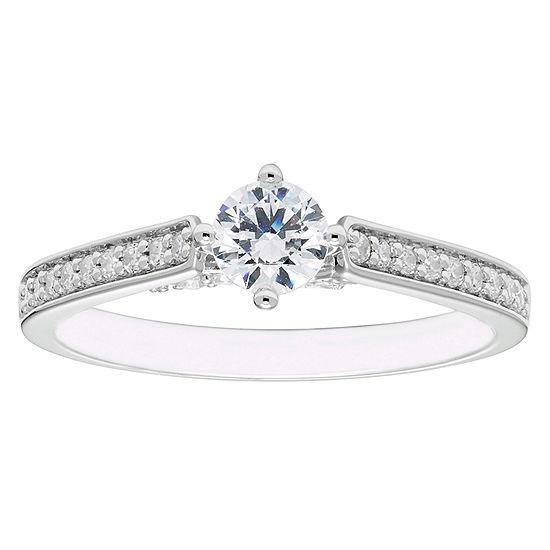 Enchanted Disney Fine Jewelry Womens 1/2 CT. T.W. Genuine White Diamond 14K Gold Round Engagement Ring