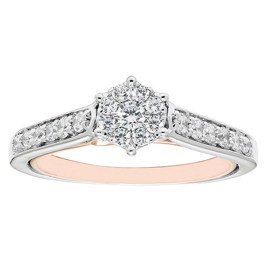 Enchanted Disney Fine Jewelry Womens 1/2 CT. T.W. Genuine Diamond 10K Gold Round Engagement Ring