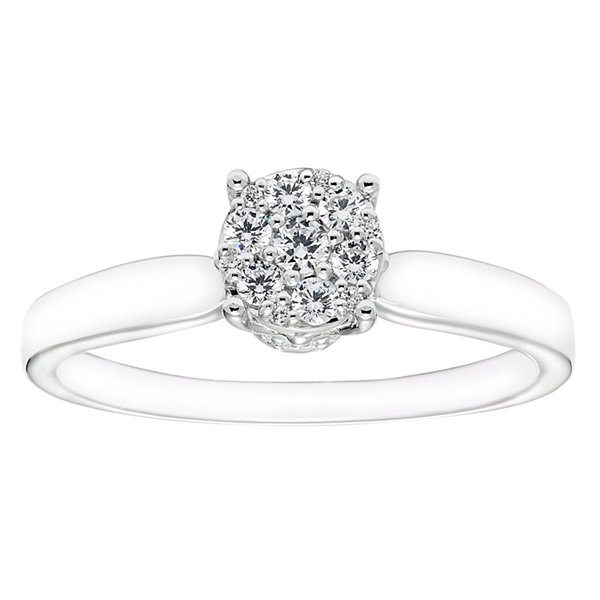Enchanted Disney Fine Jewelry Womens 1/4 CT. T.W. Round White Diamond 10K Gold Engagement Ring