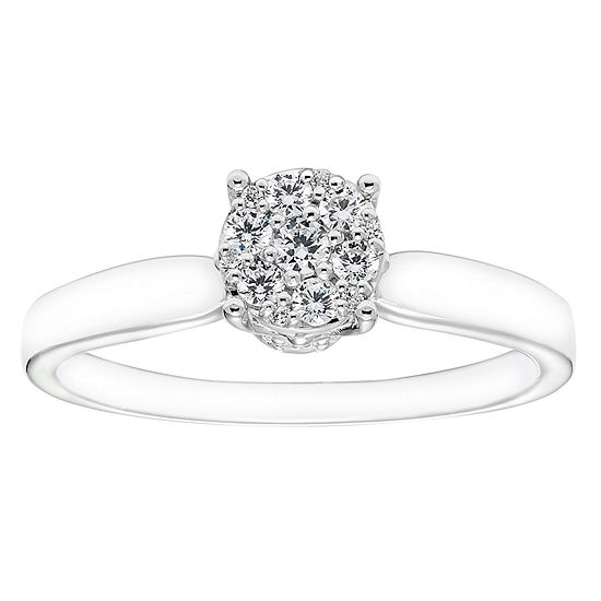 Enchanted Disney Fine Jewelry Womens 1/4 CT. T.W. Genuine White Diamond 10K Gold Round Engagement Ring