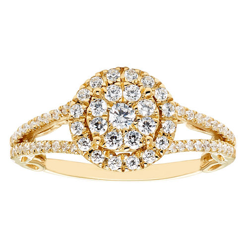 Enchanted Fine Jewelry By Disney Enchanted By Disney Womens 5/8 CT. T.W. Genuine Round White Diamond 14K Gold Engagement Ring