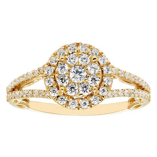Enchanted Disney Fine Jewelry Womens 5/8 CT. T.W. Genuine White Diamond 14K Gold Engagement Ring
