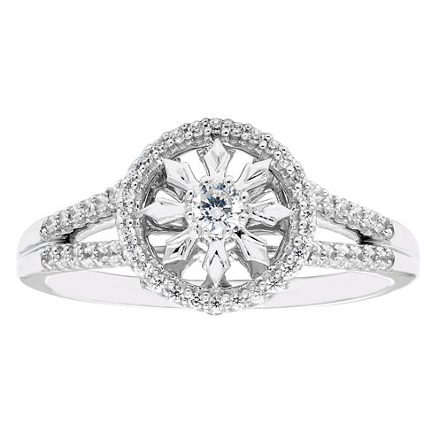 Enchanted By Disney Womens 1/4 CT. T.W. Genuine Diamond 10K Gold Promise Ring