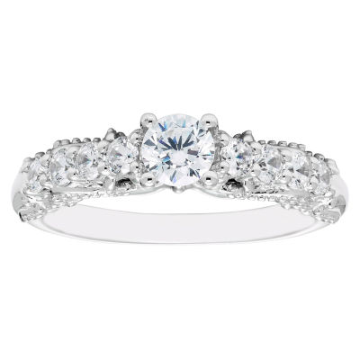 Enchanted Disney Fine Jewelry Womens 3/4 CT. T.W. Genuine Round White Diamond 14K Gold Engagement Ring