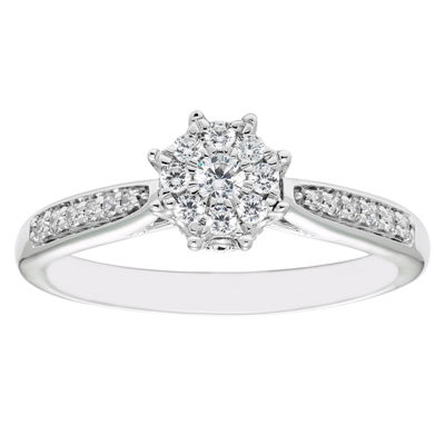 Enchanted Disney Fine Jewelry Womens 1/4 CT. T.W. Genuine White Diamond 10K Gold Disney Princess Engagement Ring