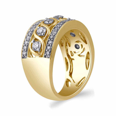 Womens 1 CT. T.W. Genuine Diamond 10K Gold Band