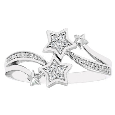 Enchanted Disney Fine Jewelry Womens 1/10 CT. T.W. Genuine White Diamond Sterling Silver Bypass Ring