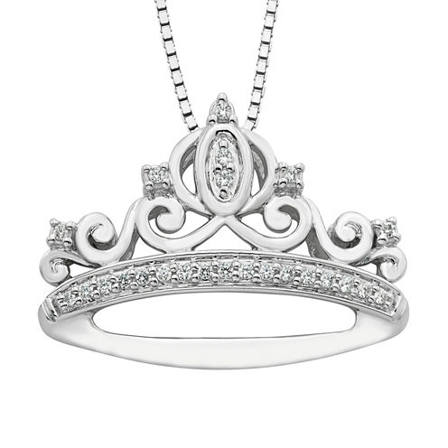 Enchanted By Disney Womens 1/10 CT. T.W. White Diamond Sterling Silver Pendant Necklace