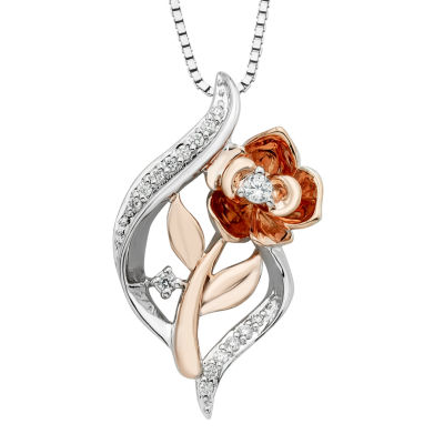 Enchanted Disney Fine Jewelry Womens 1/10 CT. T.W. Genuine White Diamond Flower Beauty and the Beast Pendant Necklace