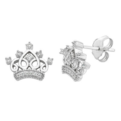 Enchanted Disney Fine Jewelry 1/10 CT. T.W. Genuine White Diamond 9.5mm Crown Cinderella Stud Earrings