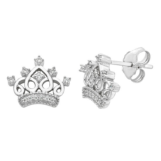 Enchanted Disney Fine Jewelry 1/10 CT. T.W. Genuine White Diamond Sterling Silver 9.5mm Crown Cinderella Stud Earrings