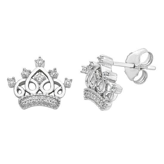 Enchanted Disney Fine Jewelry 1/10 CT. T.W. Genuine White Diamond Sterling Silver 9.5mm Crown Cinderella Stud Earrings