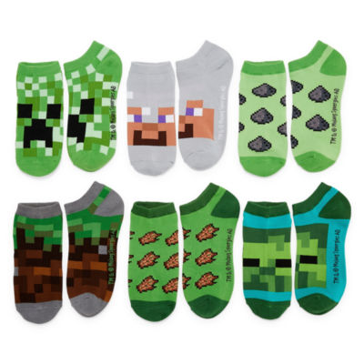 Boys Minecraft 6 Pair No Show Socks