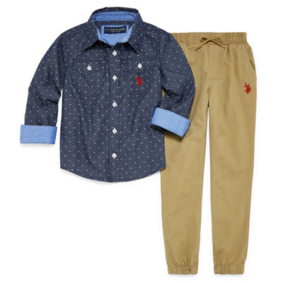 Us Polo Assn. 2-pc. Plaid Pant Set Boys