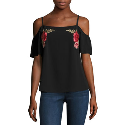 by&by Womens Boat Neck Short Sleeve Floral Blouse-Juniors