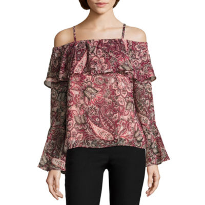 by&by Womens Boat Neck Long Sleeve Ruffled Blouse-Juniors