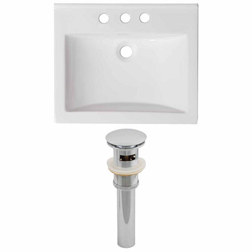 American Imaginations Ceramic Top Set In White Color And Drain