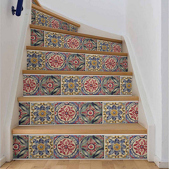 Brewster Wall Iznik Tile Stair Wall Decal