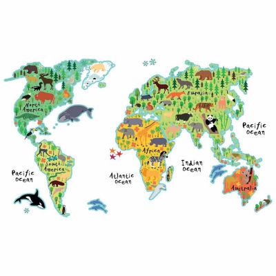 Brewster Wall Kids World Map Wall Decal
