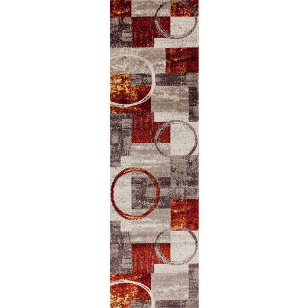 World Rug Gallery Contemporary Abstract Circle Rectangular Runner