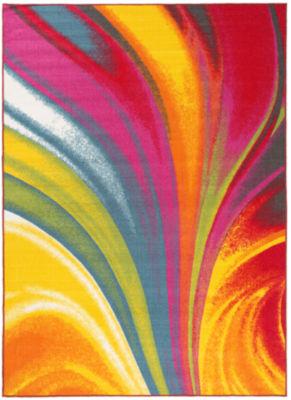 World Rug Gallery Modern Contemporary Waves Non-Skid Rectangular Rugs