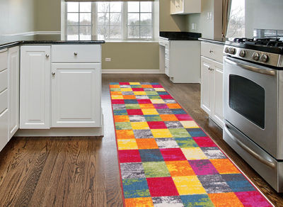 World Rug Gallery Contemporary Modern Boxes Non-Skid Rectangular Rugs