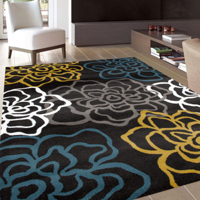 World Rug Gallery Contemporary Modern Floral Rectangular Rugs