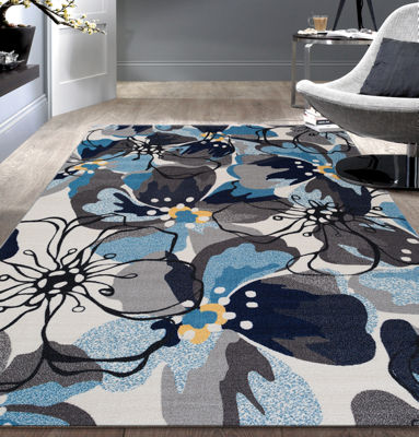 World Rug Gallery Modern Large Floral Non-Skid Rectangular Rugs