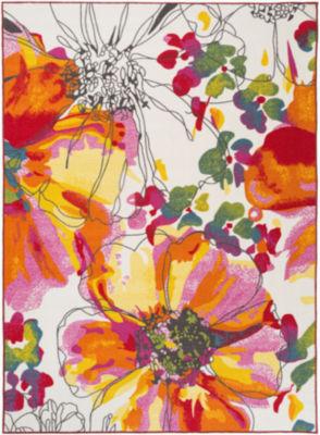 World Rug Gallery Modern Bright Flowers Non-Skid Rectangular Rugs