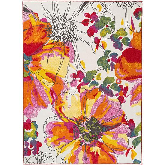 World Rug Gallery Modern Bright Flowers Rectangular Indoor Rugs
