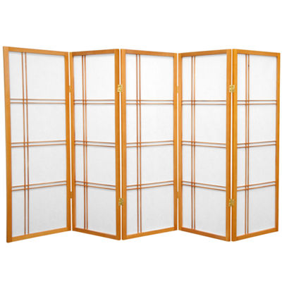 Oriental Furniture 4' Double Cross Shoji 5 Panel Room Divider