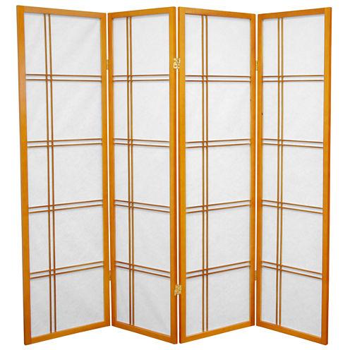 Oriental Furniture 5' Double Cross Shoji 4 Panel Room Divider