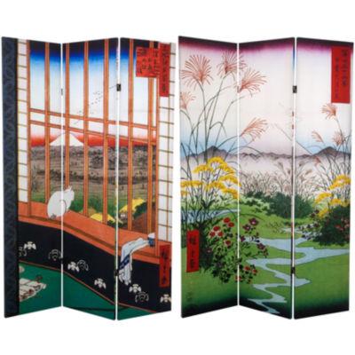 Oriental Furniture 6' Hiroshige Asakusa Rice FieldRoom Divider