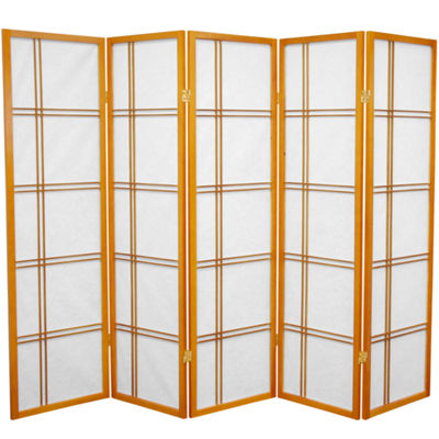 Oriental Furniture 5' Double Cross Shoji 5 Panel Room Divider