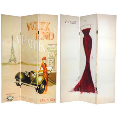 Oriental Furniture 6' Vintage Weekend Paris Room Divider