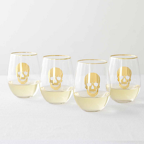 Cathy's Concepts Skull 4-pc. Stemless Wine Glass