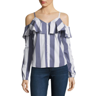 Belle + Sky Cold Shoulder Button Down Shirt