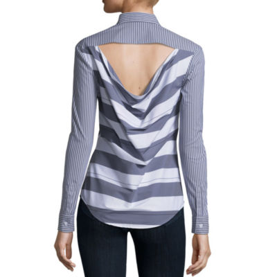 Belle + Sky Long Sleeve Cowl Back Button Down Shirt
