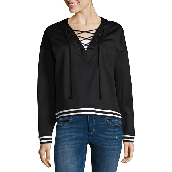 Project Runway Lace Up Hooded Sweatshirt
