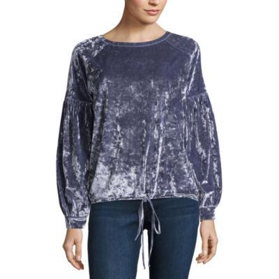 Project Runway Tie Front Velvet Sweatshirt