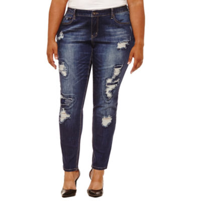 """Boutique + 31"""" Embellished Pocket Skinny Fit Jeans - Plus"""
