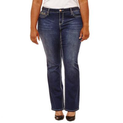 "Boutique + 31"" Embellished Pocket Bootcut Jeans - Plus"