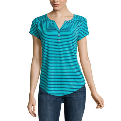 Liz Claiborne® Cap-Sleeve Henley Tee