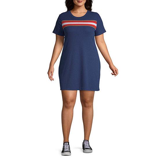 Arizona Short Sleeve Striped T Shirt Dresses Juniors