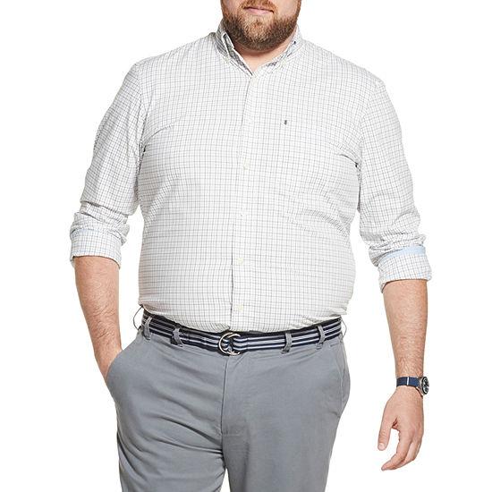 IZOD Big and Tall Premium Essentials Stretch Tattersall Button-Down Shirt
