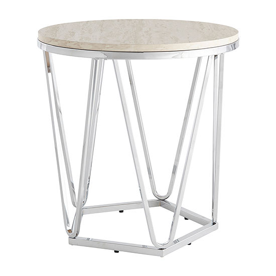 Brasia Round Faux Stone Side Table