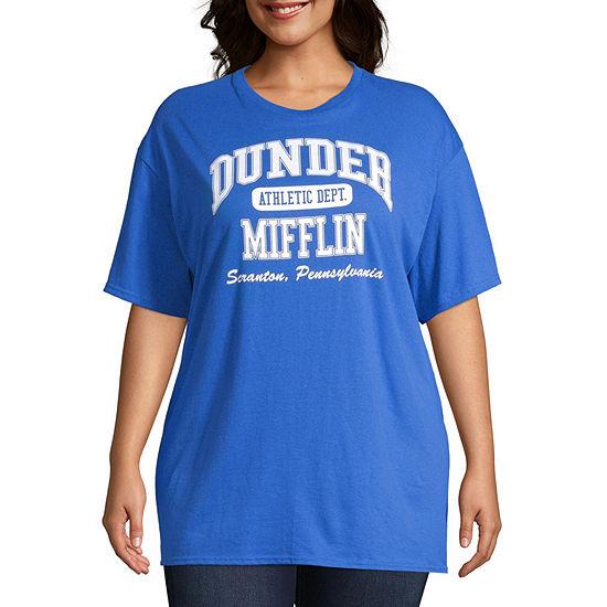 New World Womens Crew Neck Short Sleeve Graphic T Shirt Juniors Plus