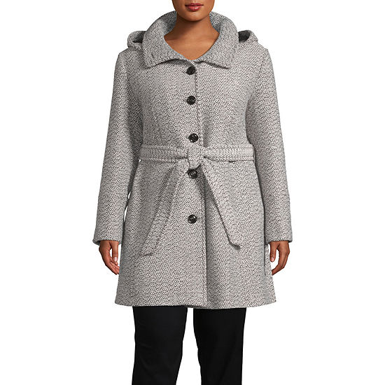 Liz Claiborne Belted Heavyweight Overcoat Plus
